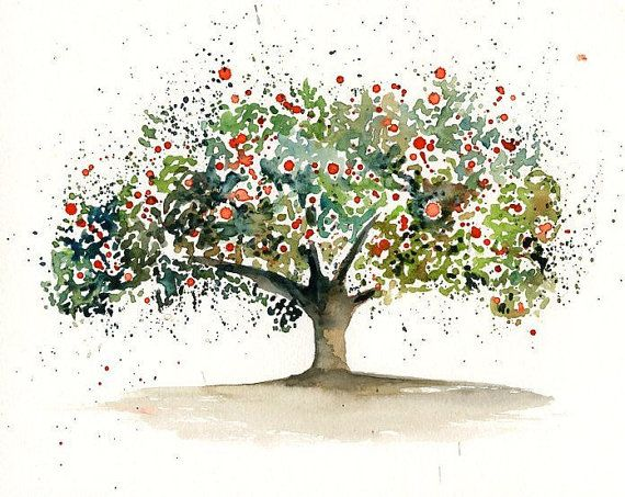 Apple tree-Landscape painting-Watercolor-Archival Large Print from my original watercolor painting 14x11 inch