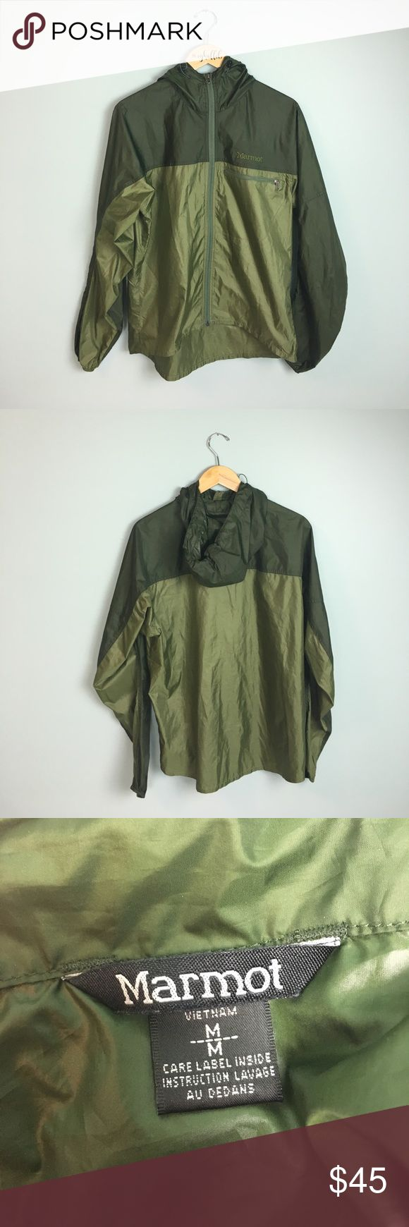 """Marmot PreCip Jacket in Two Toned Green - M Ideal for hiking or the outdoors. Super lightweight!  Marmot brand, size medium.  Measurements: Armpit to Armpit: 22.5"""" Length Base of Neck to Bottom: 27.5"""" Arm Inseam: 23""""  Gently used with light wear. In great shape! Style # J 8910-1-MPT  Closet policies: ❌ No trades, no holds ✅ I consider all reasonable offers 🛍Bundle and save 15% 📫It is my goal to ship same day or next business day ❓If you have questions please ask!  Inventory code: 1017108d…"""