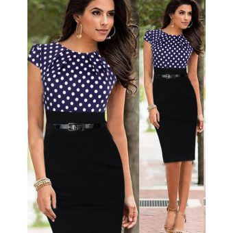 Ladies polka dot pencil dress - blue