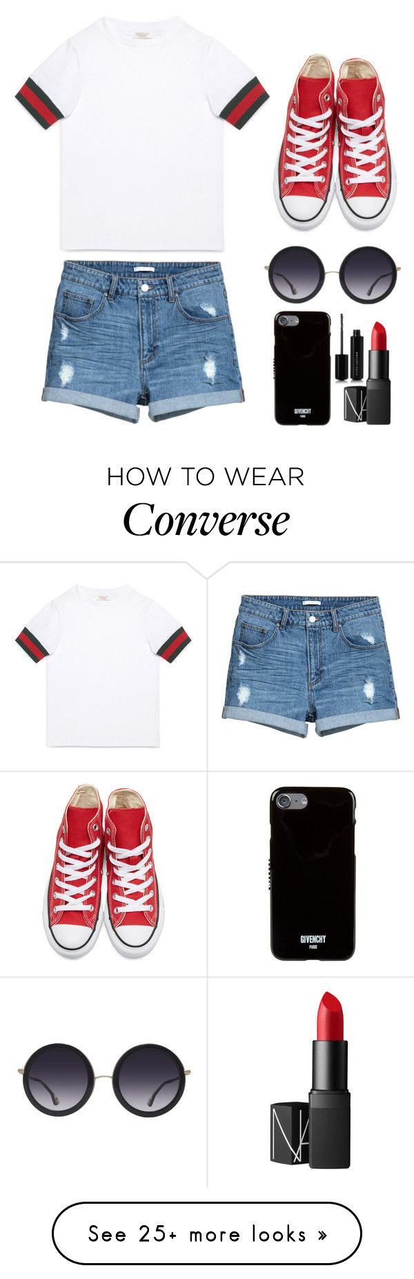 """""Denim"" Outfit #5"" by fedelinewiarta on Polyvore featuring Gucci, Converse, NARS Cosmetics, Alice + Olivia, Givenchy and Marc Jacobs"