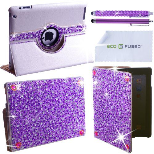iPad Case - Rotating Faux Leather Bling Case Compatible with Apple iPad 4, iPad 3, iPad 2 - also includes 1 Bling Stylus Pen / 1 Long Stylus Pen / 1 ECO-FUSED® Microfiber Cleaning Cloth - Cute Rhinestone Cover Perfect for Girls (Purple) ECO-FUSED®,http://www.amazon.com/dp/B00ANXUP0E/ref=cm_sw_r_pi_dp_nnuVsb1822648TRZ