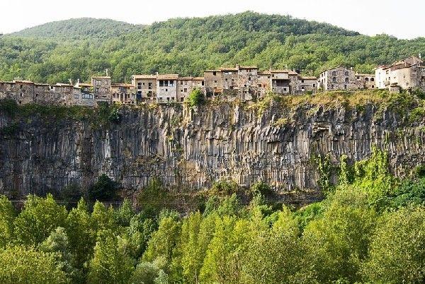 Small Town Dominating a Theatrical Basalt Cliff: Castellfollit de la Roca, Spain