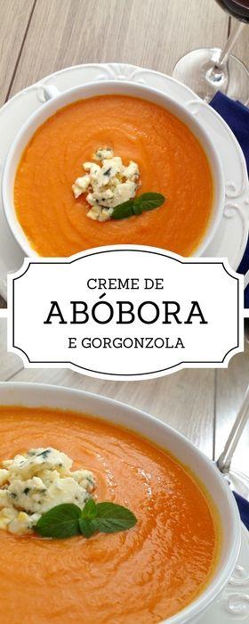 como fazer sopa de abóbora, como fazer creme de abóbora, abóbora e gorgonzola