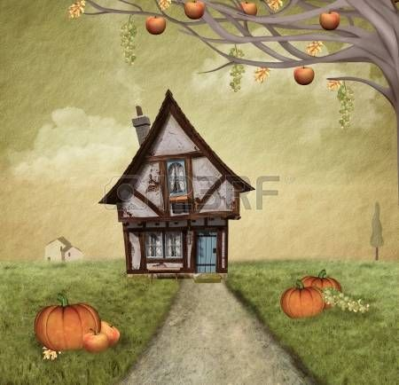 Autumnal country house - painted style photo