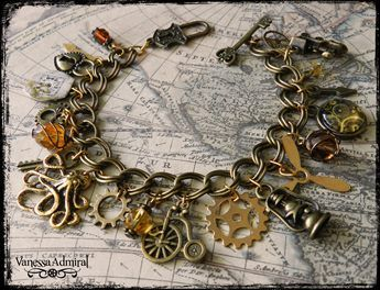 Steampunk Inspired Bronze Charm Bracelet