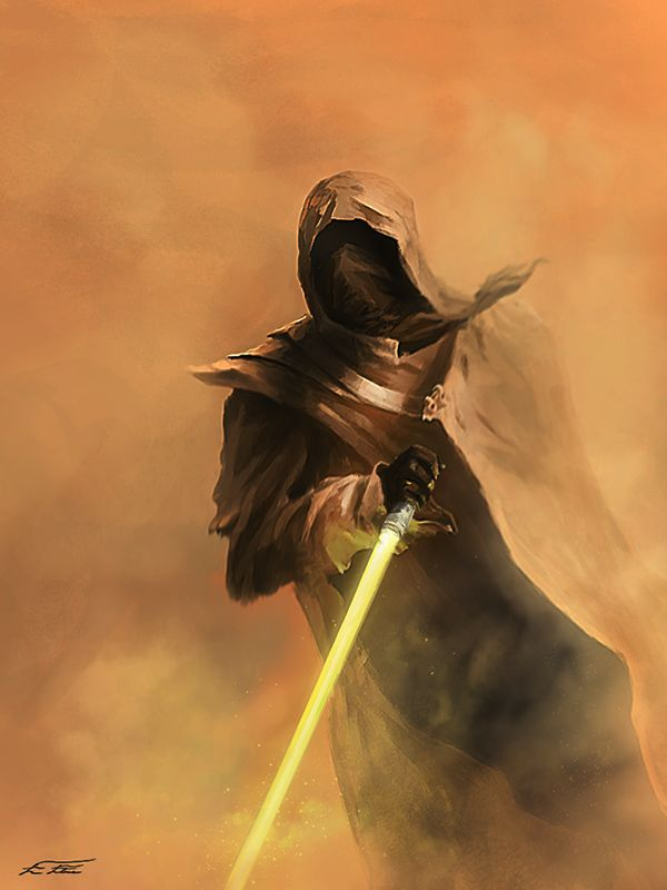 Star Wars RPG Villain Idea. Single Yellow Lightsaber. Morally Ambiguous instead of evil. Hooded. Saving his planetary system, wife and child means the destruction of a whole galactic spiral arm. PCs don't find out his motivations until he's unredeemable, or his plan to chain reaction stars in hyperspace has taken a few worlds. Maybe his child gives the PCs the plot device needed to bring him down to their level.