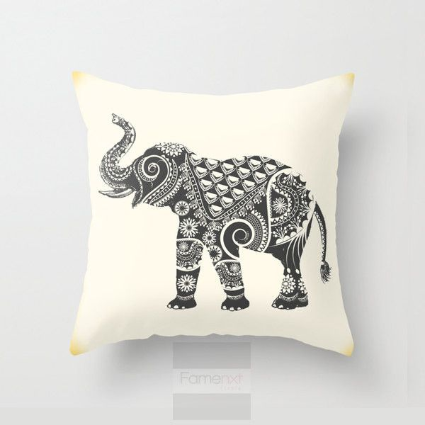 Elephant Throw Pillow Cover. Decorative Mandala Pillow Cover. 18 inch. Double sided Print