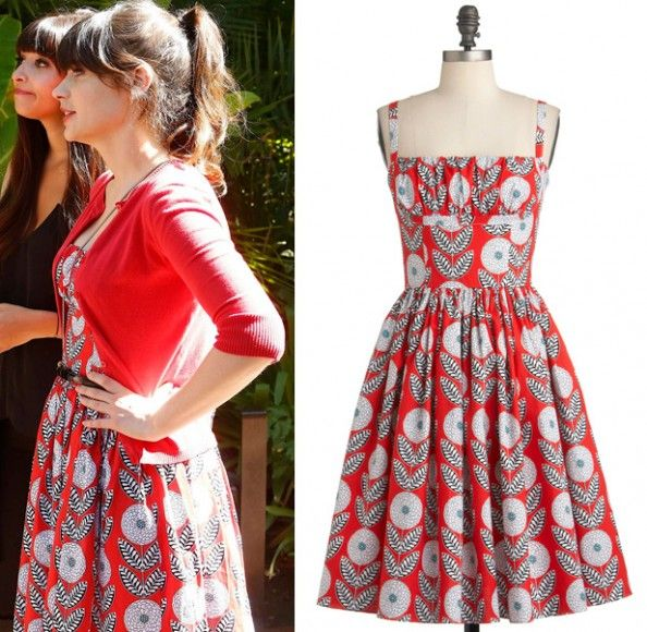 Jess's red dress with white and black print on New Girl.  I have a pattern that will work for this.