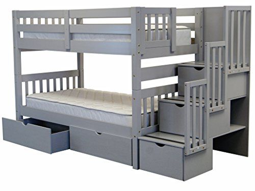 Bedz King Stairway Bunk Twin over Twin Bed with 3 Drawers in the Steps and 2 Under Bed Drawers Gray -- Learn more by visiting the image link.