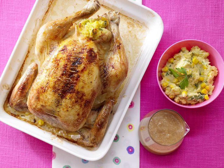 Gefülltes Polenta-Hähnchen - das schmeckt der ganzen Familie | Kalorien: 648 Kcal - Zeit: 50 Min. | http://eatsmarter.de/rezepte/gefuelltes-polenta-haehnchen