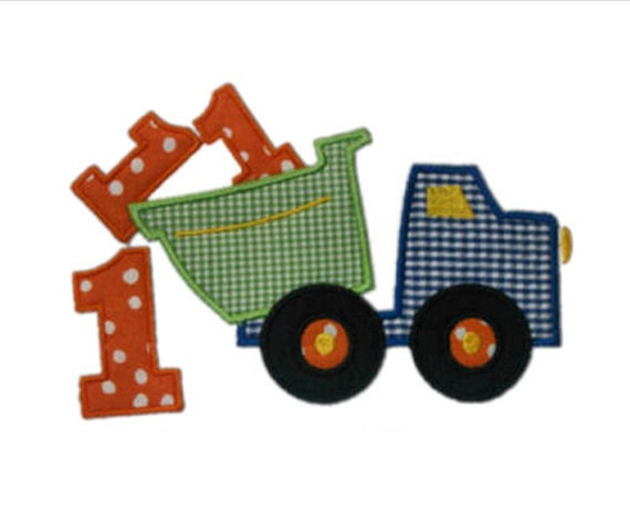 Birthday Dump truck dumping with Number Applique by dcstitches, $21.00