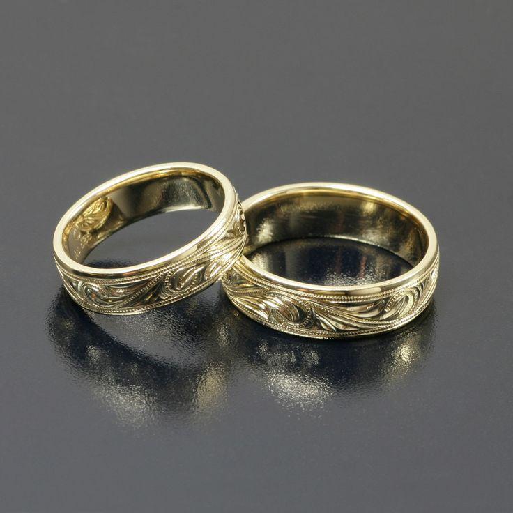 Obrączki ślubne ze złota ręcznie grawerowane