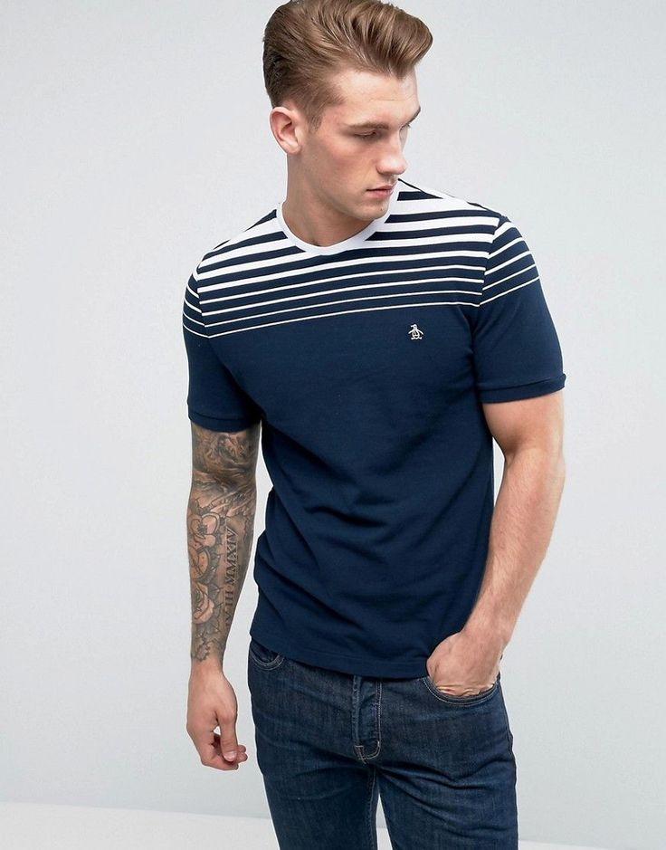Original Penguin T-Shirt Gradient Stripe Slim Fit in Navy - Navy