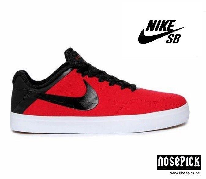 Nike Toile Satire Chaussures Fond Noir / Rouge