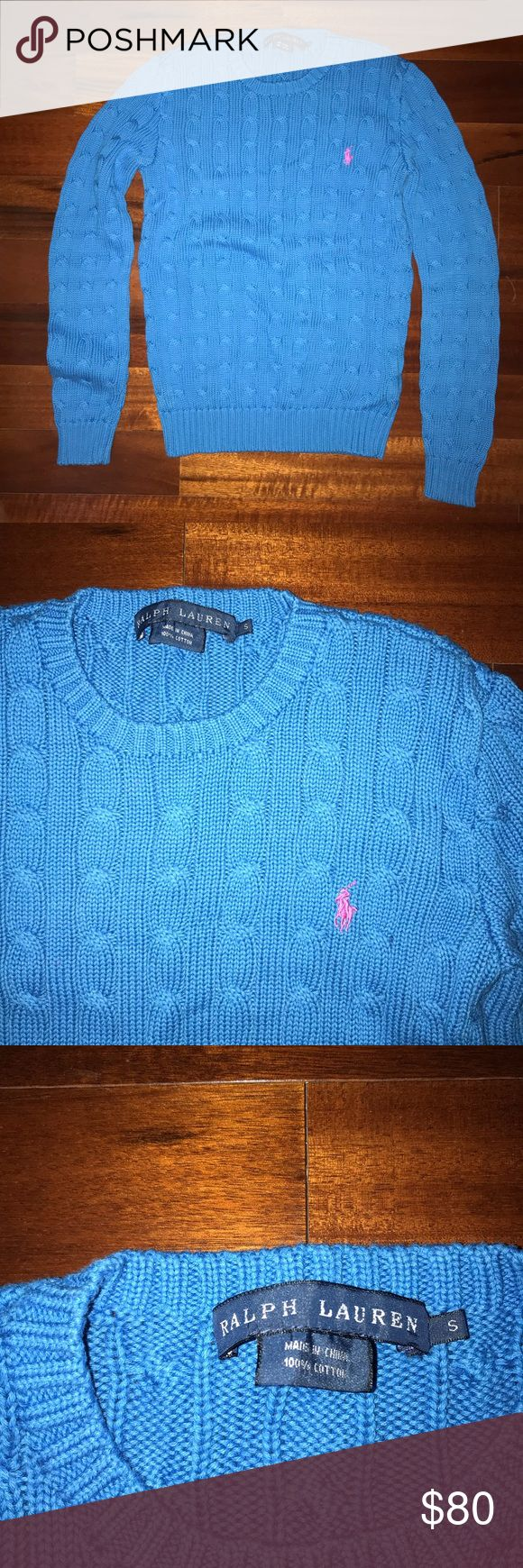 Polo Cable Knit Sweater Slim fit. Crewneck. Long sleeves with ribbed cuffs. Ribbed hem. Signature embroidered pony at the left chest. 100% cotton. Never worn Originally $100 (pictured on Ralph Lauren website) Price can be negotiated Ralph Lauren Sweaters