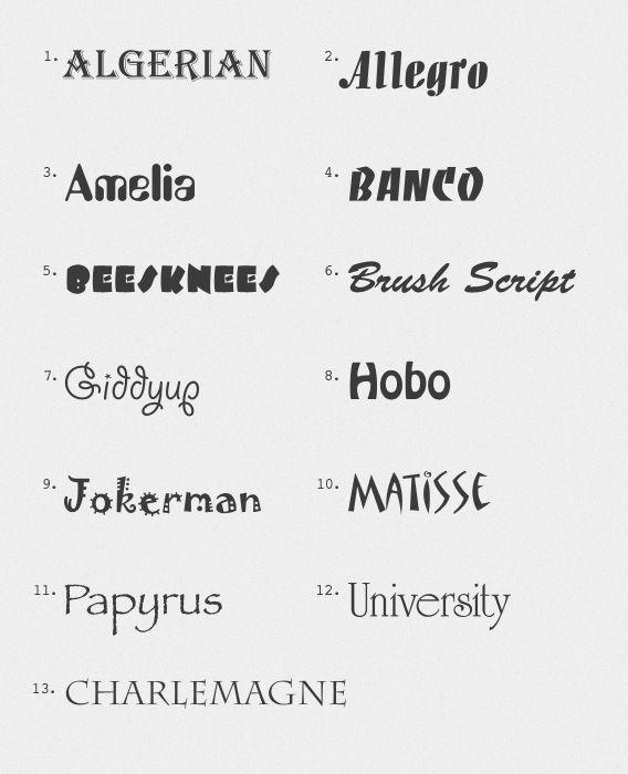 13 Ugliest Typefaces | Fonts | Serif typeface, Sans serif, Fonts
