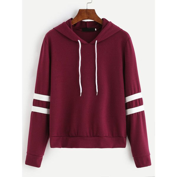 Burgundy Varsity Striped Drawstring Hooded Sweatshirt (42 BRL) ❤ liked on Polyvore featuring tops, hoodies, burgundy, striped hoodie, hooded pullover sweatshirt, purple hooded sweatshirt, burgundy hoodie and hoodies pullover