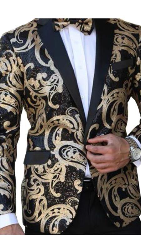 14f7e258c5 SKU#E-135 Mens Paisley Designed Black Notch Lapel Gold~Black tuxedo dinner  jacket