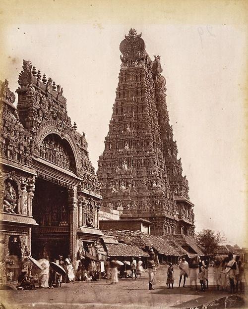 Great Gopuram (152ft) & entrance to Temple, Madura 1875 Photograph of a gopuram (tower) and entrance of the Minakshi Sundareshvara temple in Madurai, taken by Nicolas & Company in the 1870s.  (via British Library)