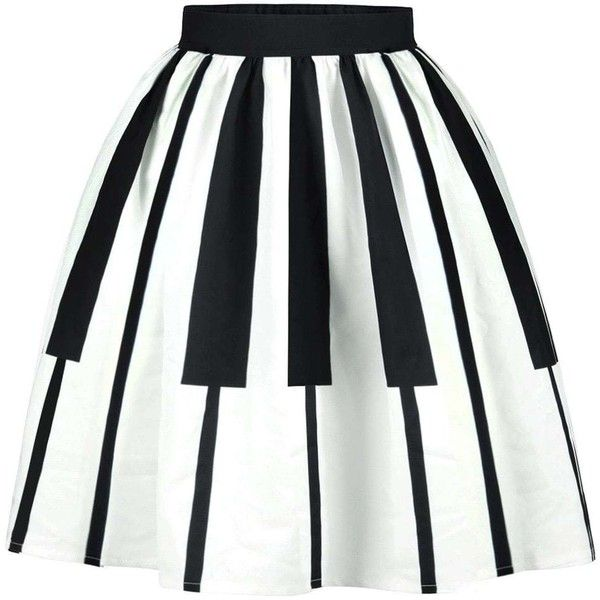 Striped High Waist Two Tone Skirt ($16) ❤ liked on Polyvore featuring skirts, white knee length skirt, stripe skirts, white high waisted skirt, high waist skirt and high-waist skirt