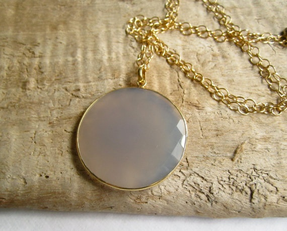 Huge Grey Moonstone Necklace 24K Gold Vermeil by julianneblumlo, $138.00