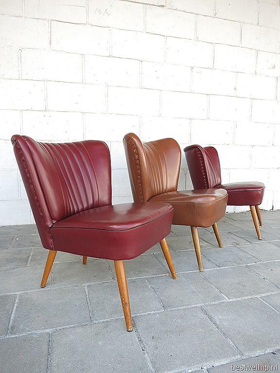 vintage clubfauteuils cocktail stoelen. Uit de jaren 50.