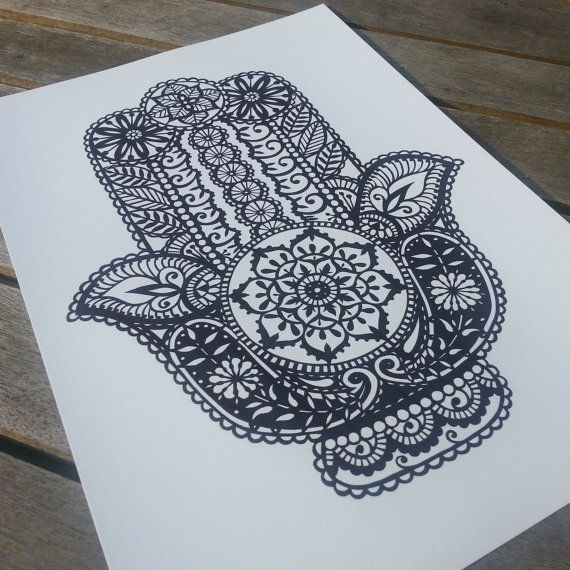 Inspired by beautiful Indian henna patterns, this is a stunning black and white print of my original hand cut Hamsa. Hand-drawn and then
