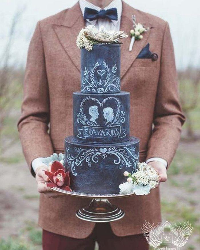 Chalkboard cake. Ou simplesmente bolo de lousa. Pra saber mais sobre essa ideia super original  vai lá no http://ift.tt/1gYI3tO  #wedding #casamento #weddingidea #inspiração #inspiraçãodecasamento #amor #love #light #Joy #cake #bolo #sweet #anoivadebotas #weddingday by anoivadebotas