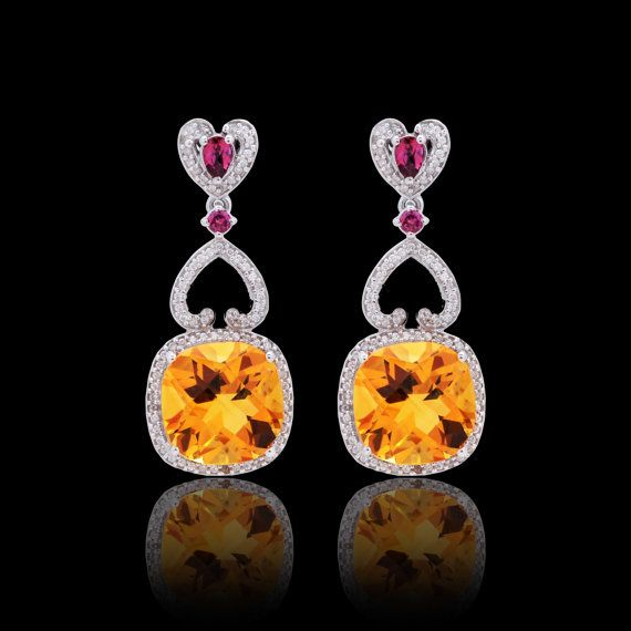 Rhodolite and citrine earring with cubic zirconia ,rose gold plated.