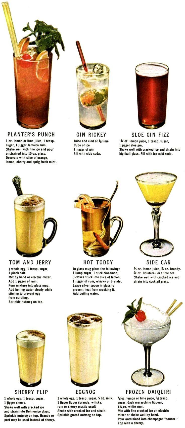 Klassische Cocktailrezepte für Planter Punch, Gin Rickey, Sole Gin Fizz, Tom ...