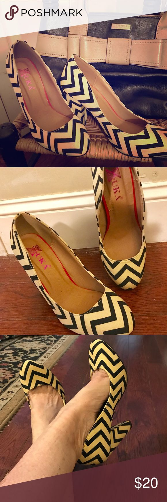 Darling Black & Tan Chevron Shoes So cute and spunky. Look great with black pants, dress or with jeans. Only worn a few times. Look like new! Shoes Heels