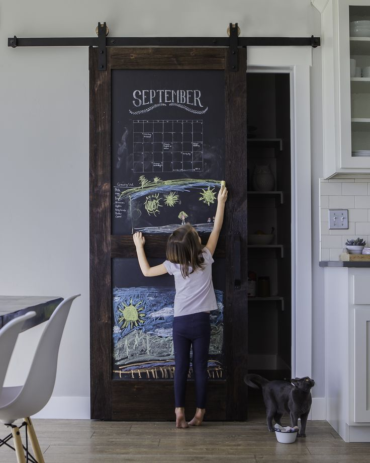 Chalkboard barn door. Perfect for pantries in the kitchen, for writing to do lists and groceries!