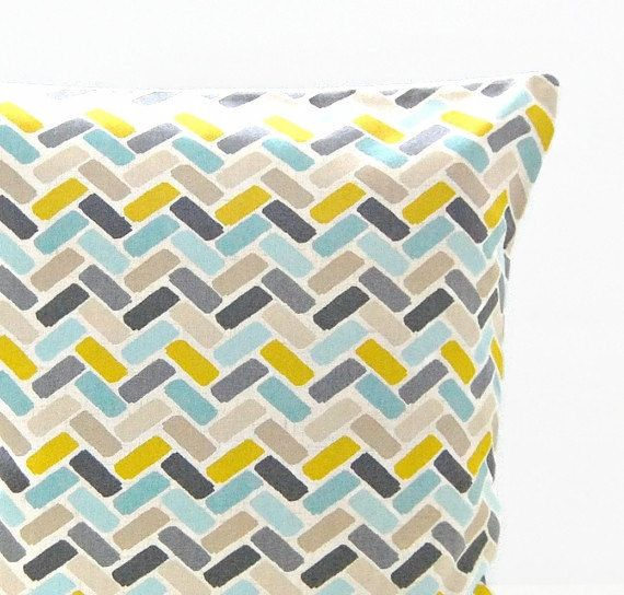 16 inch decorative pillow cover blue teal yellow grey abstract blocks cushion cover