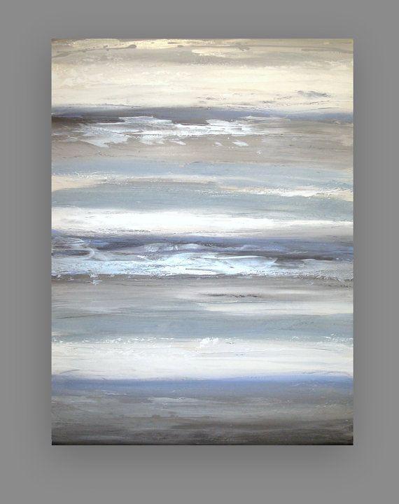 Azul y gris Original acrílica pintura abstracta por OraBirenbaumArt