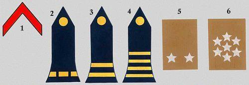 Вооружённые силы Франции: 1. Рядовой 1-го класса. 2. Аспирант. 3. Лейтенант. 4. Майор. 5. Бригадный генерал. 6. Маршал Франции.