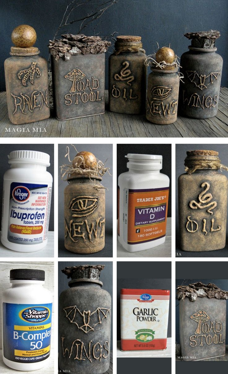 DIY Halloween Apothecary Jars' Tutorial from Magia Mia. Turn plastic vitamin bottles into creepy apothecary jars using a glue gun and chalkboard paint. For more apothecary DIYs go here and the best...