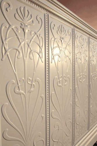 Art nouveau design stamped tin panels for the wall