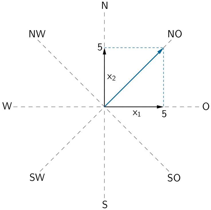 Projektion in die x₁x₂-Ebene: Richtungsvektor der Geraden g₁