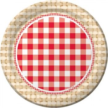 Picnic Basket Red Gingham Paper Plate | The Party Cupboard