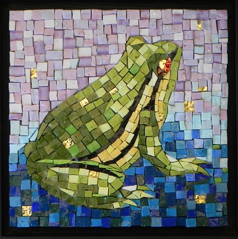 Maplestone Gallery ~ Contemporary Mosaic Art  ~ 'Frog Prince' by Jean Loney