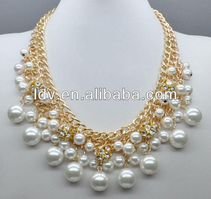 Doble collar de perlas cadena de joyas