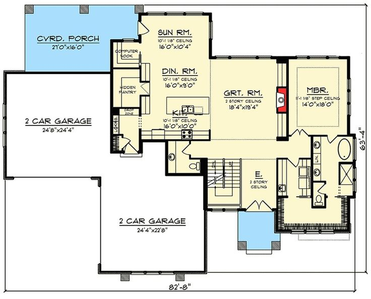 Plan 890030AH: Prairie Style House Plan With Two Story Ceilings
