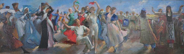 Вильямс Петр Васильевич (1902-1947). «Танцы народов СССР». Эскиз для панно. 1938. Холст, масло. 49 х 162.