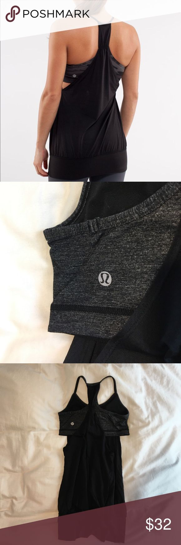 lululemon athletica No Limits Tank (discontinued) Black Tank with heather grey bra inside; no rips, holes, or discoloration. lululemon athletica Other