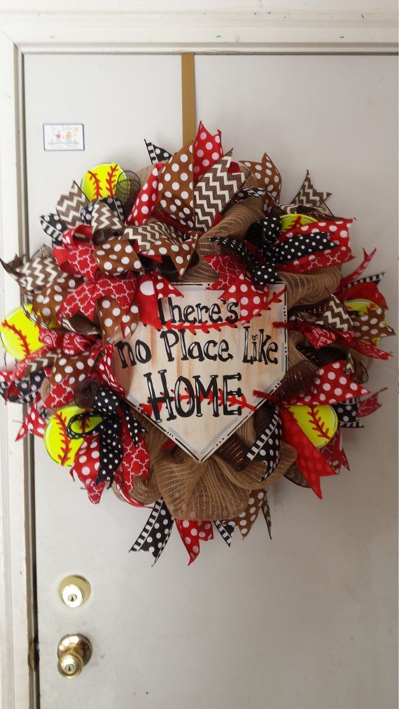 Softball Wreaths Sports Wreath Burlap Wreath by BellaRaeDesignsCo