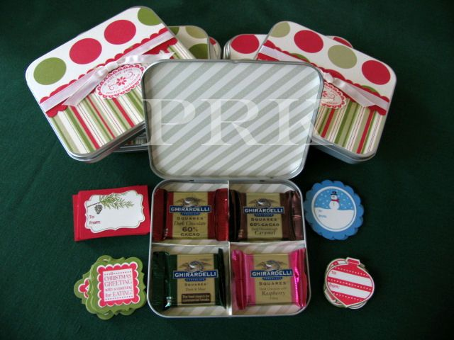 In lieu of christmas cards i decorated these tins for for Decorating tins for christmas