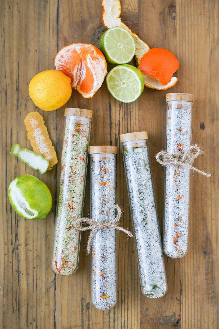 DIY Citrus Green Tea Bath Salts in Ikea test tubes... a lovely gift!