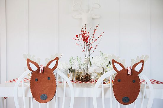 Cute reindeer chair covers from Pottery Barn Kids for the Sweet Little Peanut Christmas Party