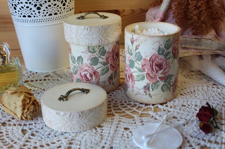 Купить Комплект для туалетного столика. Комплект для ватных дисков,палочек))) - бежевый, комплект коробов