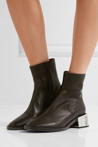 MM6 Maison Margiela - Leather Ankle Boots - Black